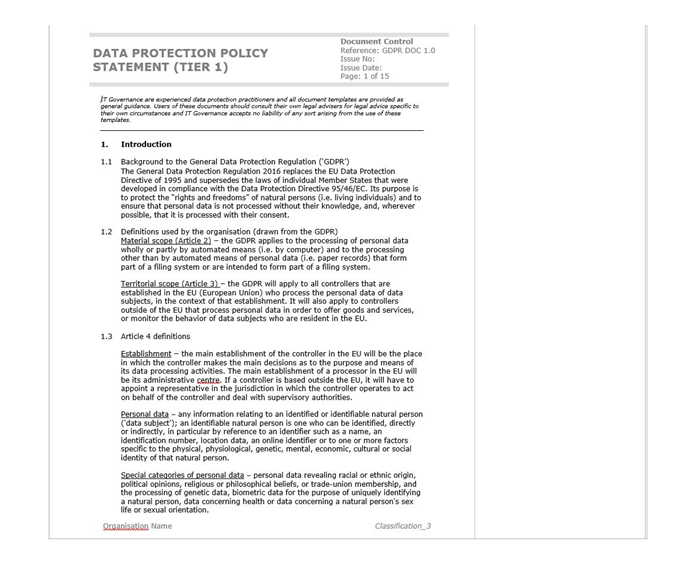 Extract of data protection policy template