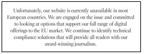 Website unavailable to EU