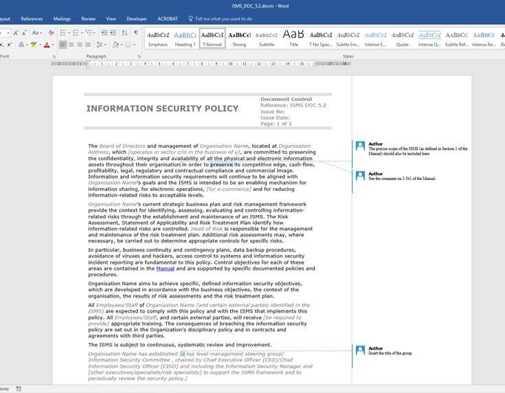 Information security policy template example